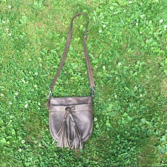 Roots Leather Crossover Bag/Purse With Tassel
